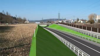 Autobahnzubringer Hausen: Die Visualisierung zeigt die neue Kantonsstrasse mit Anschlussrampe Windisch und neuem Brückenbauwerk, die mit der Südwestumfahrung Brugg/Windisch geplant sind. zvg/Kanton Aargau