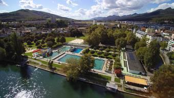 Badi Strandbad Freibad Schwimmbad Olten mit Drohne