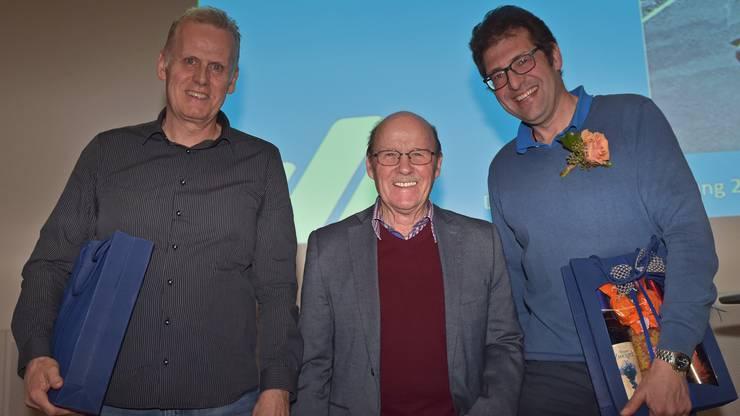 Drei lebende Aargauer Leichtathletiklegenden (von links): Hochspringer Roland Egger, Langstreckenläufer Werner Dössegger und Mittelstreckenläufer Markus Hacksteiner.