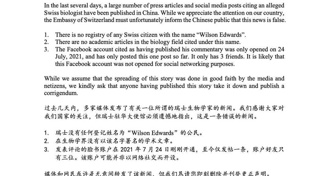Die Schweizer Botschaft klärt über Wilson Edwards auf.
