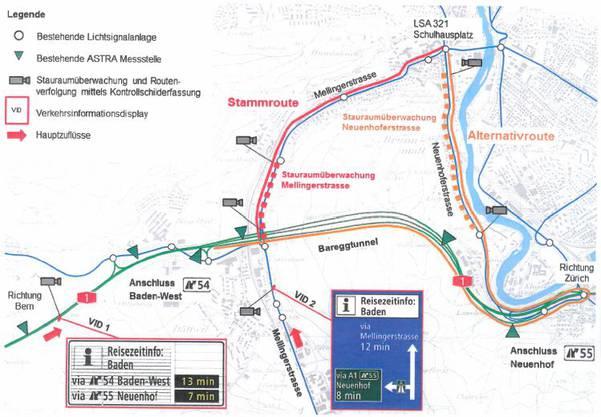 Übersichtsplan Verkehrsinformationssystem Pilotprojekt Baden.