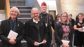 Von links Christof Schelbert, Willi Rüegsegger, Christian Wüthrich (Plaketten-Chef Fuko) und Jennifer Burkhardt.