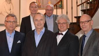 Die Verantwortlichen der Kies Lenz AG (von links): Heinrich Haller (Vizepräsident des Verwaltungsrats), Michael Sutter (Geschäftsführer), Werner Eichenberger (Verwaltungsratspräsident), Richard Meyer (Verwaltungsrat), Jürg Link (Verwaltungsrat) und Martin Stücheli (Verwaltungsrat); es fehlt Alexander Krebs (Verwaltungsrat).