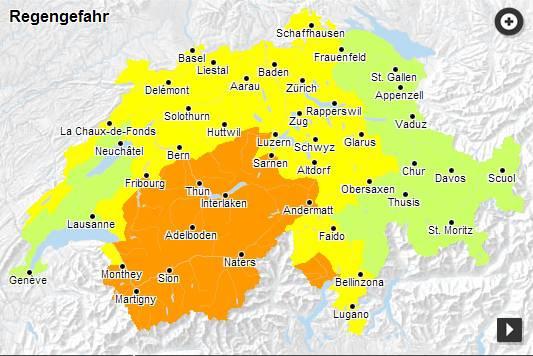 Regen-Gefahrenkarte, Stand 28.7, 17.21