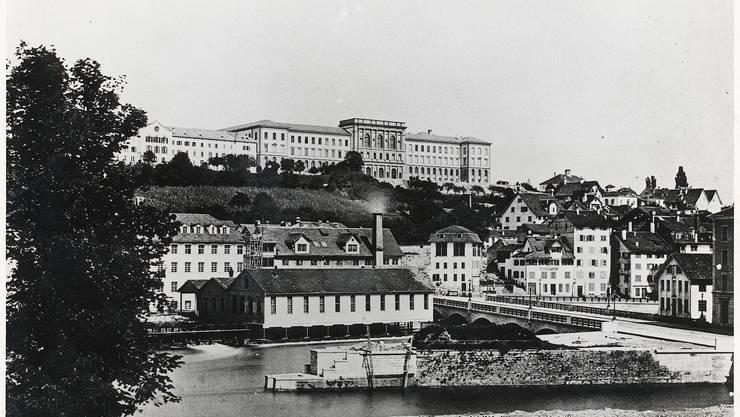 Blick vom Hauptbahnhof in Richtung Bahnhofbrücke und Central im Jahre 1864 vor der Brückenerweiterung, welche im Jahre 1871 stattgefunden hat.