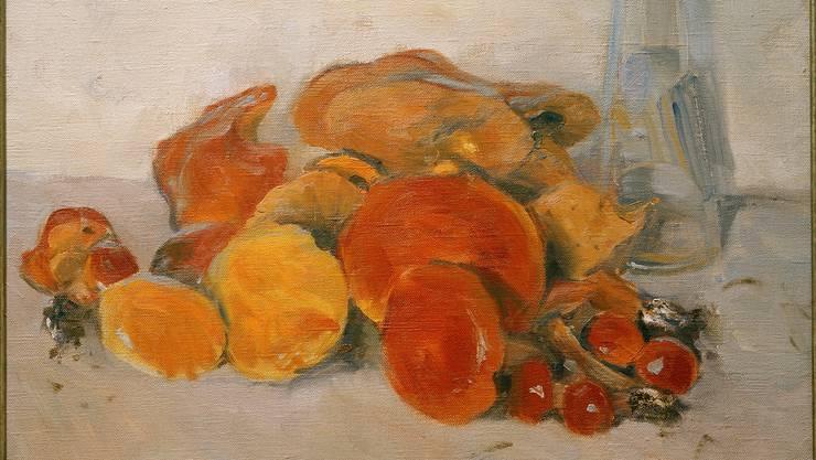 Herbstliches Kunststücklein: «Pilze (Stillleben mit Schwammerln und Flasche)» malte der Wiener Künstler Koloman Moser 1909. Öl auf Leinwand, 49,5 x 50 cm.