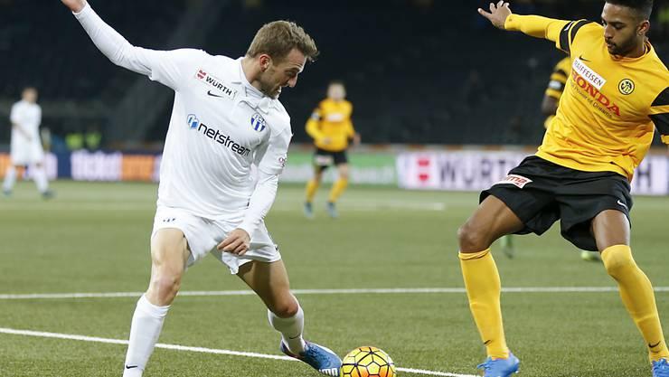 Schütze des Siegtors für den FC Zürich: Christian Schneuwly (li., im Zweikampf mit YBs Grégory Wüthrich)