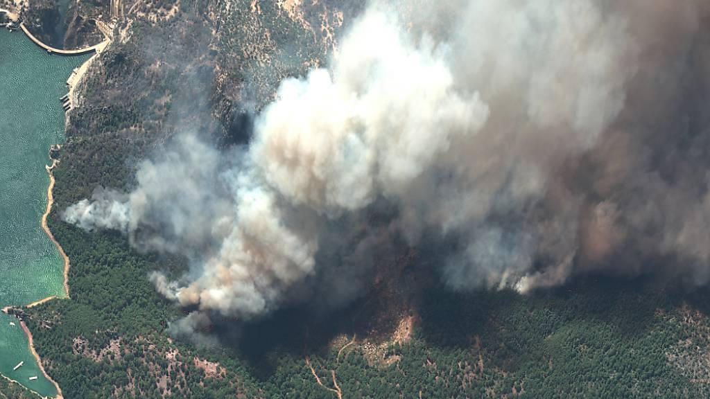 HANDOUT - Aufsteigender Rauch von Waldbränden in der Nähe des Oymapinar-Damms in der Türkei. Foto: Satellite Image ©2021 Maxar Tec/Maxar Image/AP/dpa - ACHTUNG: Nur zur redaktionellen Verwendung und nur mit vollständiger Nennung des vorstehenden Credits
