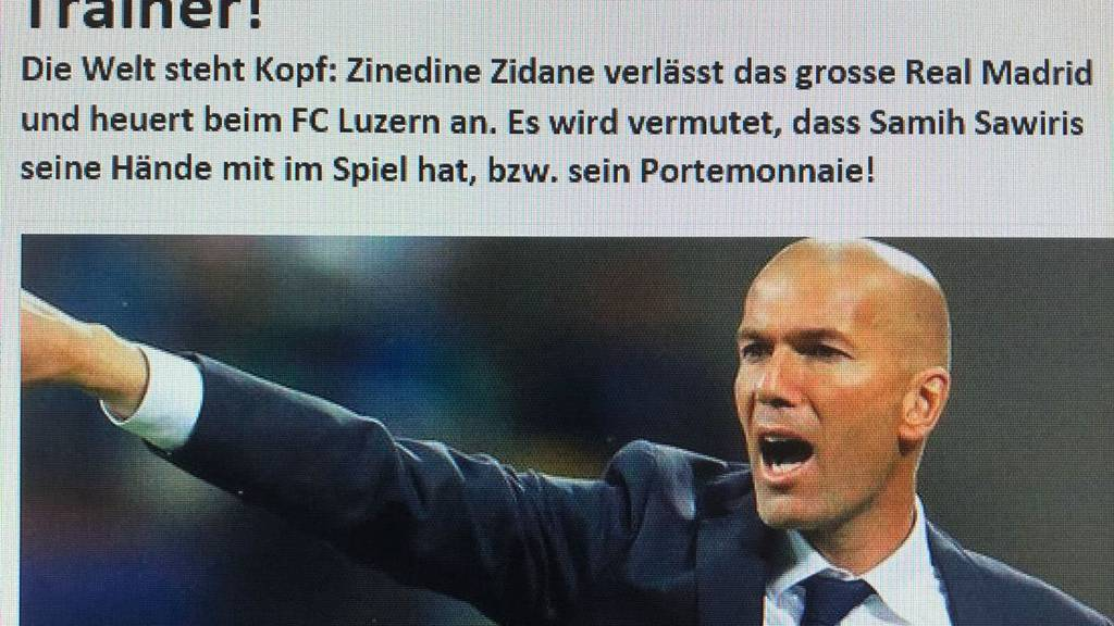 Fake News: Zidane als Trainer beim FC Luzern?