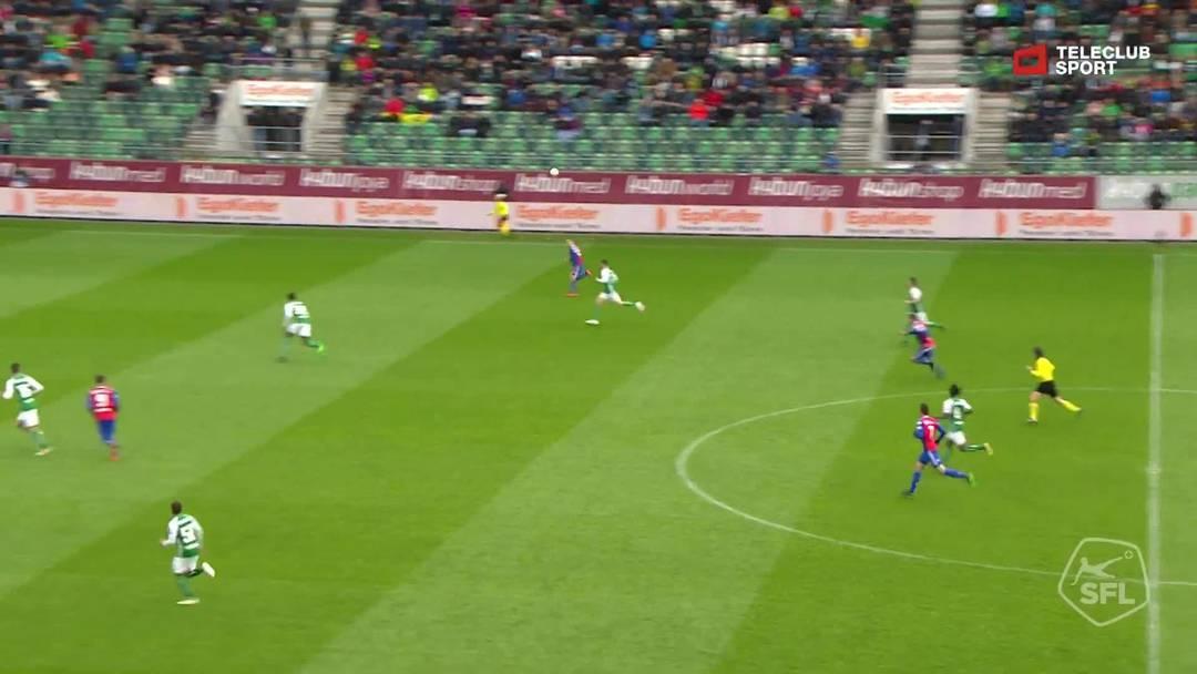 Super League, Saison 2018/19, Runde 31, St. Gallen-FC Basel, 0:3  für FC Basel 1893 von Valentin Stocker (Assist: Kevin Bua)