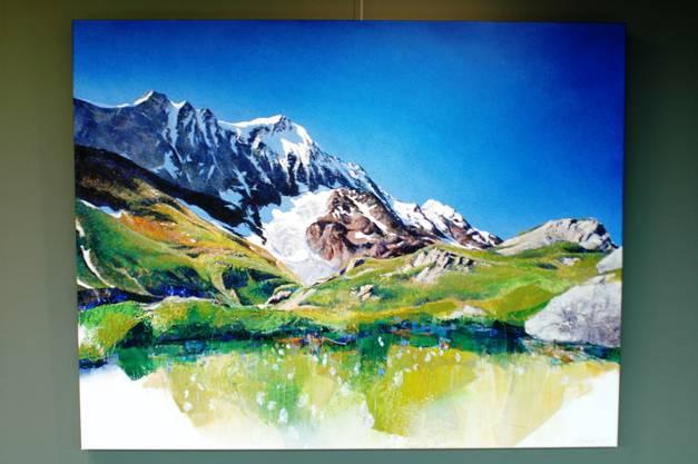 """""""Breithorn"""": Das mächtige Gebirge und die sanfte Blumenlandschaft im Vordergrund gehen in diesem Bild aus dem Jahre 2015 eine Symbiose ein."""