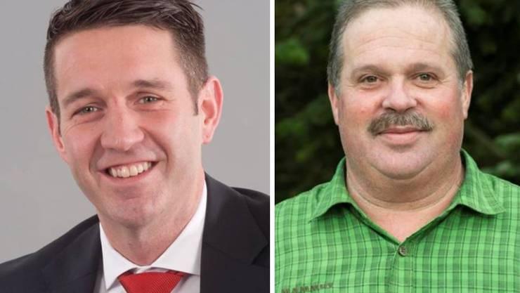 Die neuste Kampagne zielt auf zwei Mitglieder der SVP: Briefempfänger Peter Kuster (links) und Parteipräsident Bruno Steiner.