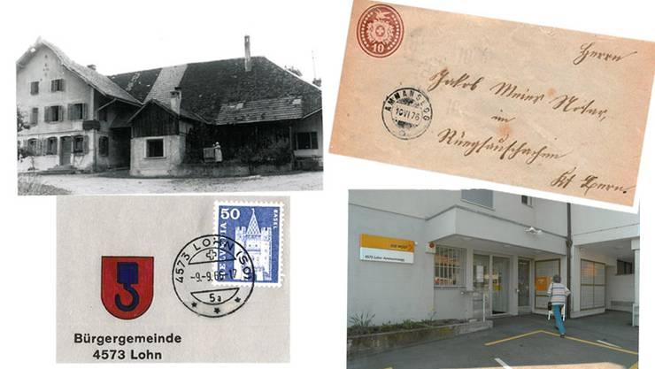 Bilder im Uhrzeigersinn: Die Post befand sich im Restaurant zur Post. Ein Brief, abgestempelt am 10. Juni 1876 in Ammanssegg. Die heutige Post 4573 Lohn-Ammannsegg. Ein alter Poststempel von 4573 Lohn.