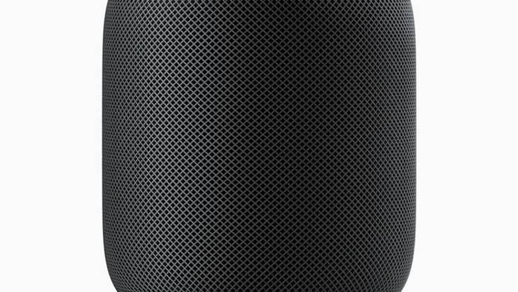 Der Apple-Lautsprecher hat die Form eines Zylinders. In der Mitte steckt ein Tieftöner für den Bass. Sieben im Kreis angeordnete Hochtöner sollen für räumlichen Sound sorgen.