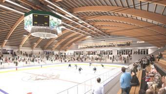 Visualisierung: So soll es nach der Sanierung im Eisstadion aussehen.