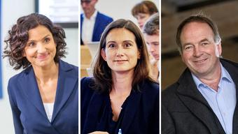 Gabriela Suter (links) ist bereits gewählt. Maja Riniker ist fast sicher gewählt, Alois Huber kann sich Hoffnungen machen.
