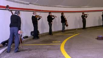 Der «Schneck» – so heisst der spiralenförmige Ausgang aus der Tunnelgarage – ist bei Musikern wegen seiner speziellen Akustik beliebt.BT-Archiv