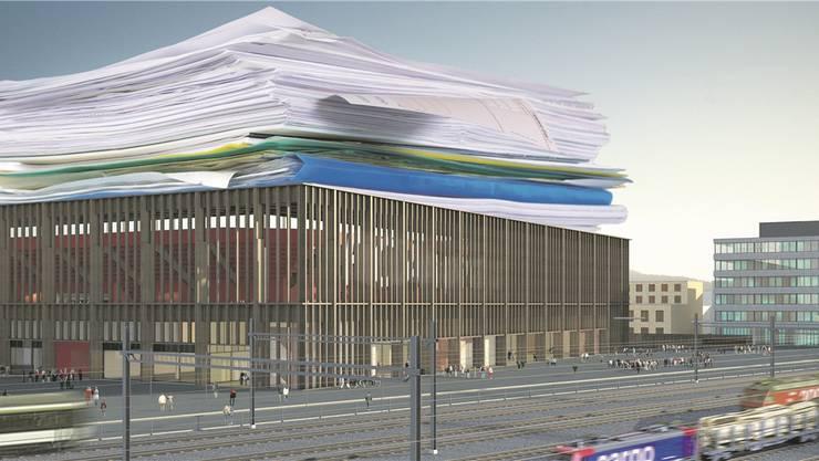 Aktenberge auf dem Fussballstadion Aarau: Anfang Mai hat das Verwaltungsgericht drei Stimmrechtbeschwerden abgewiesen. Nur eines der Beispiele, wie das Verwaltungsgericht in Erscheinung tritt.