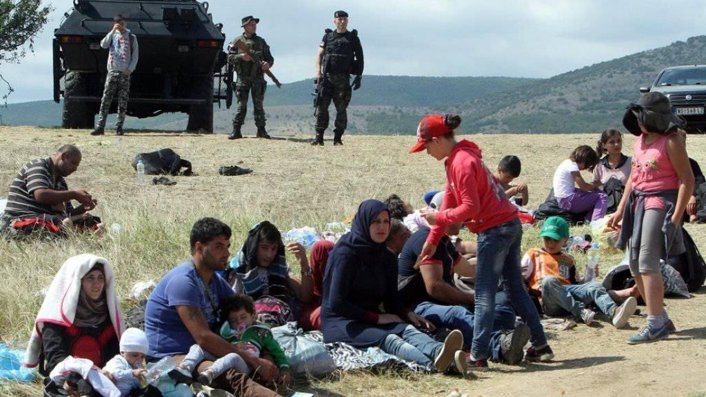 Flüchtlinge am Sonntag nahe dem serbischen Grenzort Miratovac.