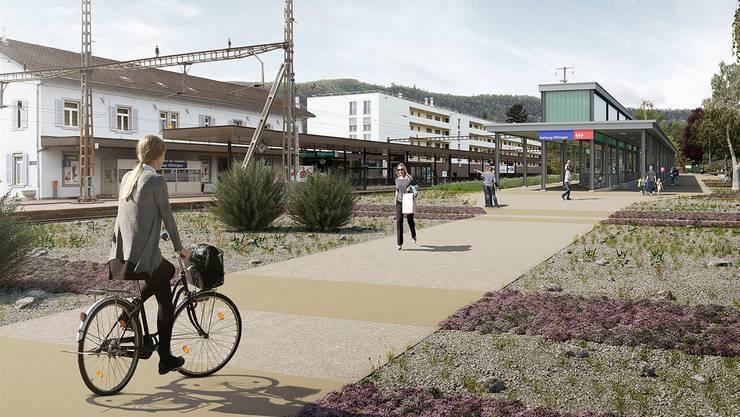 Bald wird es am Bahnhof Aarburg 110 Velo-Abstellplätze geben. (Visualisierung)