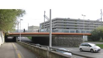 Die Brücke, rot gefärbt, wird parallel zu den Geleisen verlaufen.