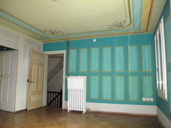 Ein Zimmer in Türkis.