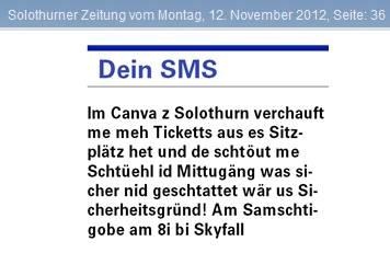 Das SMS aus der Solothurnerzeitung vom 12. November 2012