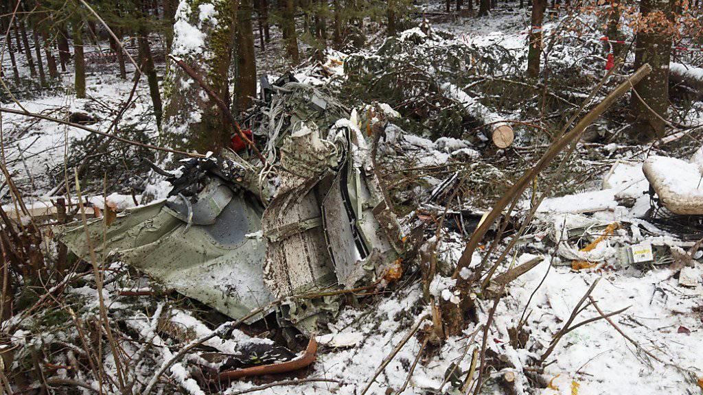 Die Überreste des Flugzeugs im Wald - die Wrackteile sind mittlerweile geborgen.