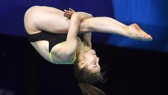 Die Schweizer Wasserspringerin Michelle Heimberg greift am Samstagabend vom 3-m-Brett nach den Medaillen