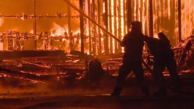 Das Feuer auf dem Wisa-Gloria-Areal breitete sich mit rasantem Tempo aus – Bilder vom Feuerwehreinsatz in den frühen Morgenstunden.