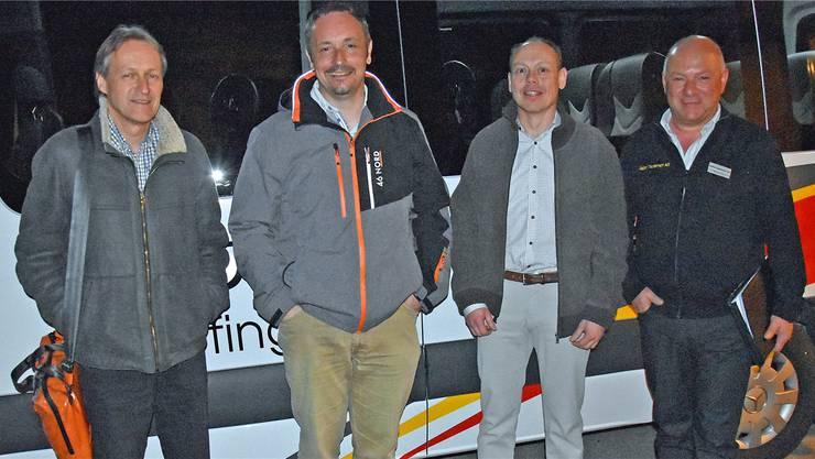 Haben das Ruftaxi-Projekt aufgegleist (v.l.): Jürg Bitterli (Department Bau, Verkehr und Umwelt), Gemeinderat Manfred Müller, Gemeindeammann Patric Jakob und Markus Zinniker (Walter Tschannen AG). Alfred Weigel