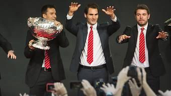 Die Schweizer Davis-Cup-Helden lassen sich feiern