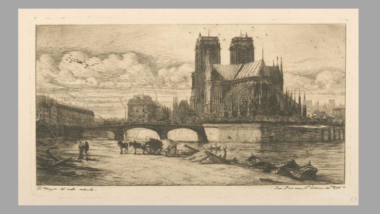 Die der Gottesmutter Maria geweihte Kirche wurde in den Jahren 1163 bis 1345 errichtet, hier zu sehen auf einer Zeichnung von 1854. Der beim Brand am 15. April 2019  eingestürzte Dachstock ist also gut 800 Jahre alt gewesen.
