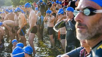 Die ersten der rund 1000 teilnehmenden Schwimmer starten zur Überquerung der Genfer Seebucht.