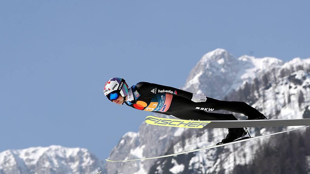Simon Ammann stürzte sich heuer zum Saisonschluss auf der Flugschanze in Planica in die Tiefe.