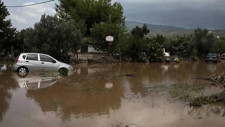 Zwei beschädigte Autos auf einer überfluteten Straße in Politika nordöstlich von Athen. Foto: Yorgos Karahalis/AP/dpa