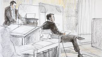 Der angeklagte Reeder Hans-Jürg Grunder beim Beginn des Hochseeflotten-Prozess im Berner Amtshaus.