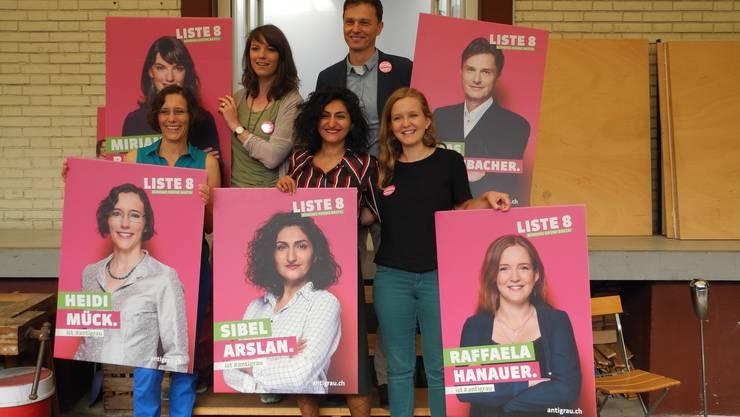 v.l.: Heidi Mück (Basta), Mirjam Ballmer (Grüne),  Sibel Arslan (Basta), Thomas Grossenbacher (Grüne) und Raffaela Hanauer (junges grünes Bündnis).