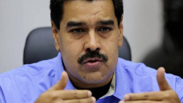 Venezuelas Präsident Maduro an einer Kabinettssitzung am Freitag