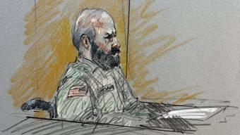 Der Angeklagte Nidal Hasan auf einer Zeichnung vor Gericht