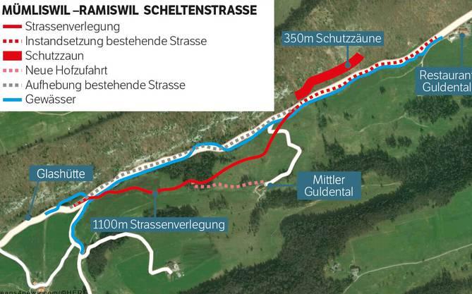 So präsentieren sich die Sanierungs- und Strassenverlegungsarbeiten auf der Scheltenstrasse. Die Sanierung beginnt ab Restaurant Guldental. Die gesamten Bauarbeiten dauern vorausslichtlich bis 2020.