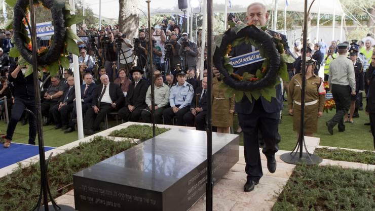 Israels Regierungschef Benjamin Netanjahu während der Zeremonie auf dem Jerusalemer Herzlberg