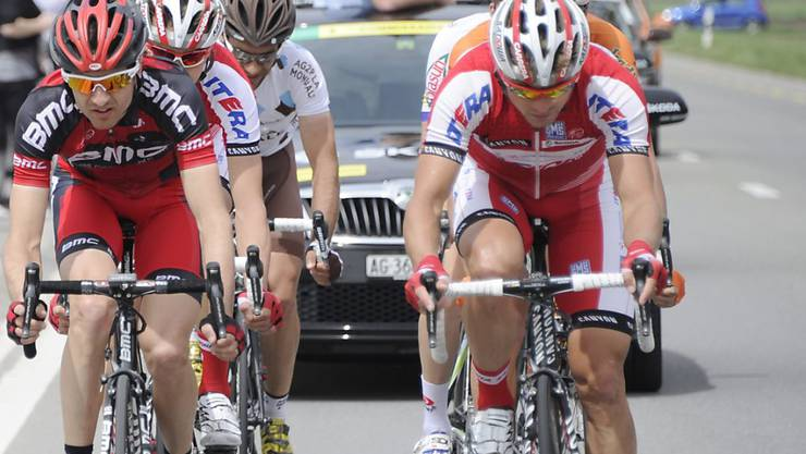 Eduard Worganow vom Team Katjuscha (rechts) nahm im April 2012 an der Tour de Romandie teil