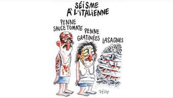 Charlie Hebdos Karikatur zum schweren Erdbeben im italienischen Amatrice