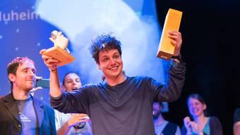 Der Gewinner der Poetry Slam Schweizer Meisterschaft 2017, Dominik Muheim.