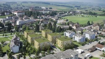 Mitten in Muri entstehen an der Bünz 64 Mietwohnungen in sechs Häusern. Sie werden im Sommer 2014 etappenweise bezugsbereit sein. zvg