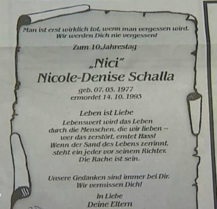 DieTodesanzeige von Nicole Denise Schalla.