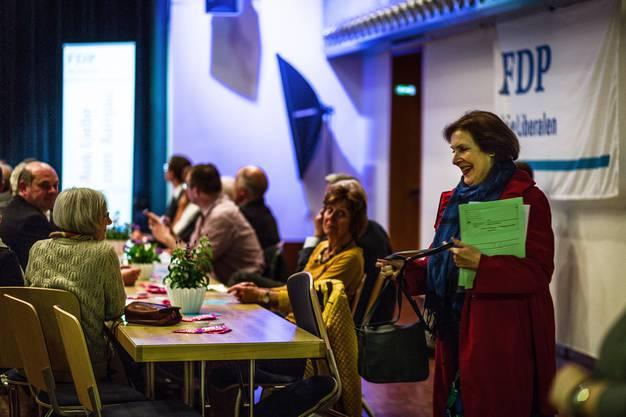 FDP-Parteitag zu den Nationalratswahlen im Herbst 2015 am 19. Mai 2015 im Saalbau Reinach - rechts mit Ständerätin Christine Egerszegi, die im Herbst nicht wieder antritt.