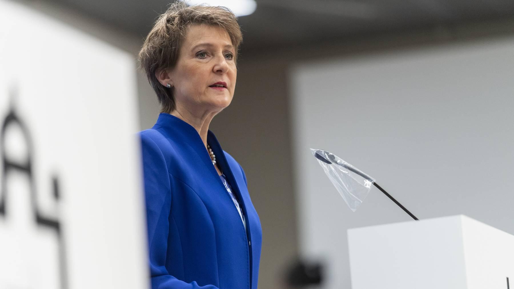 Bundespraesidentin Simonetta Sommaruga (hier bei der Eröffnung der Sondersession zur Coronakrise am 4. Mai) verzichtet an den Literaturtagen auf das Rednerpult.