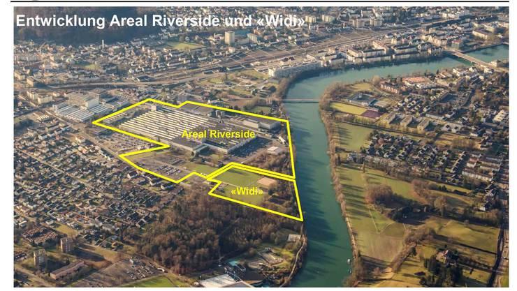Die Swiss Prime Site will ihr Areal im Projekt Riverside weiterentwickeln. Die Widi würde das Areal ideal ergänzen. zvg
